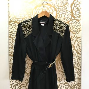 Vintage Black Gold Long Sleeve Jumpsuit 1980s